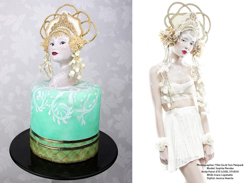Adela Calvo - Delicut Cakes. Hat inspiration: Caley Johnson of Miss G Designs - Haute Headwear www.missGdesigns.com