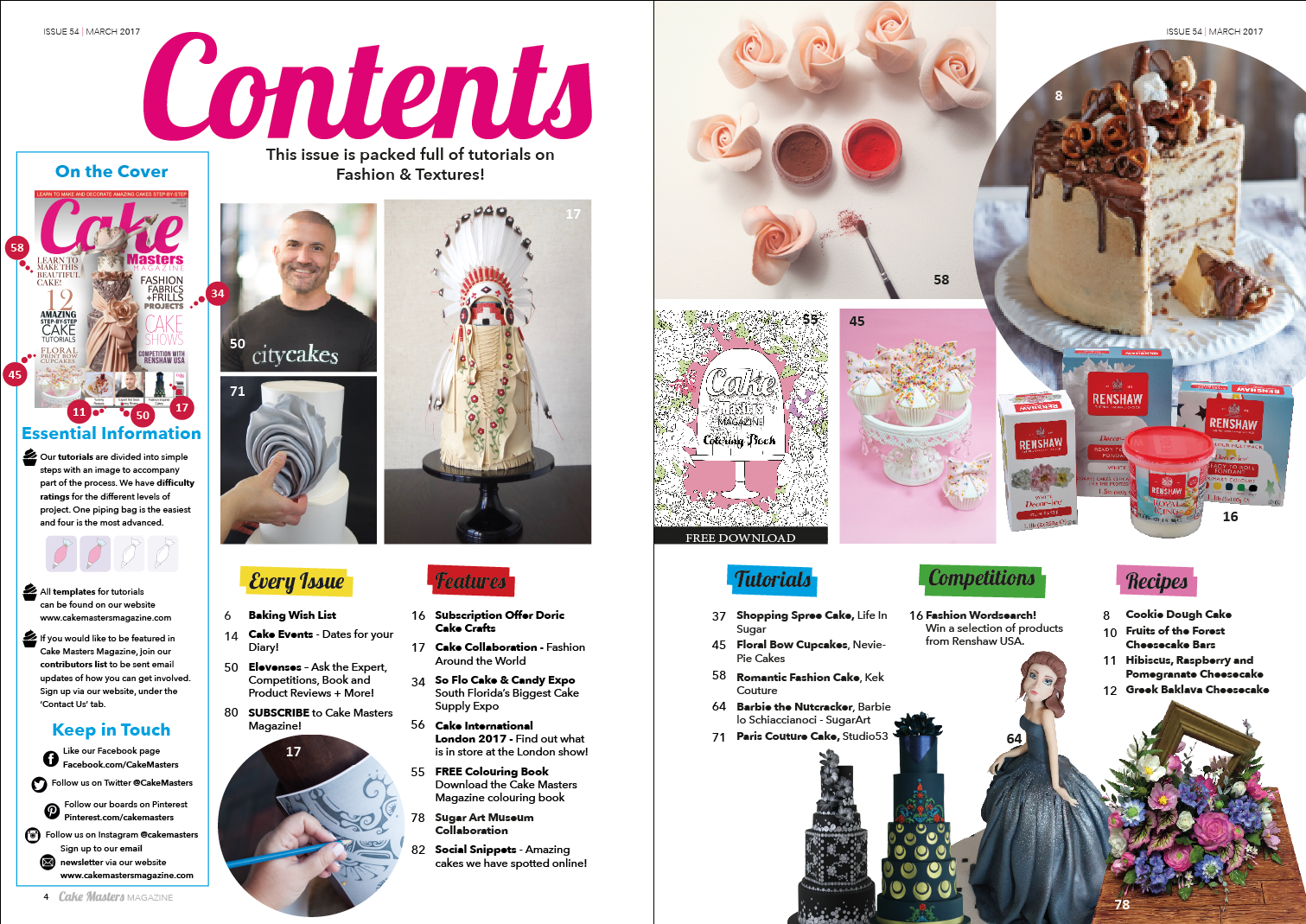 March 2017 Contents Page Cake Masters Magazine