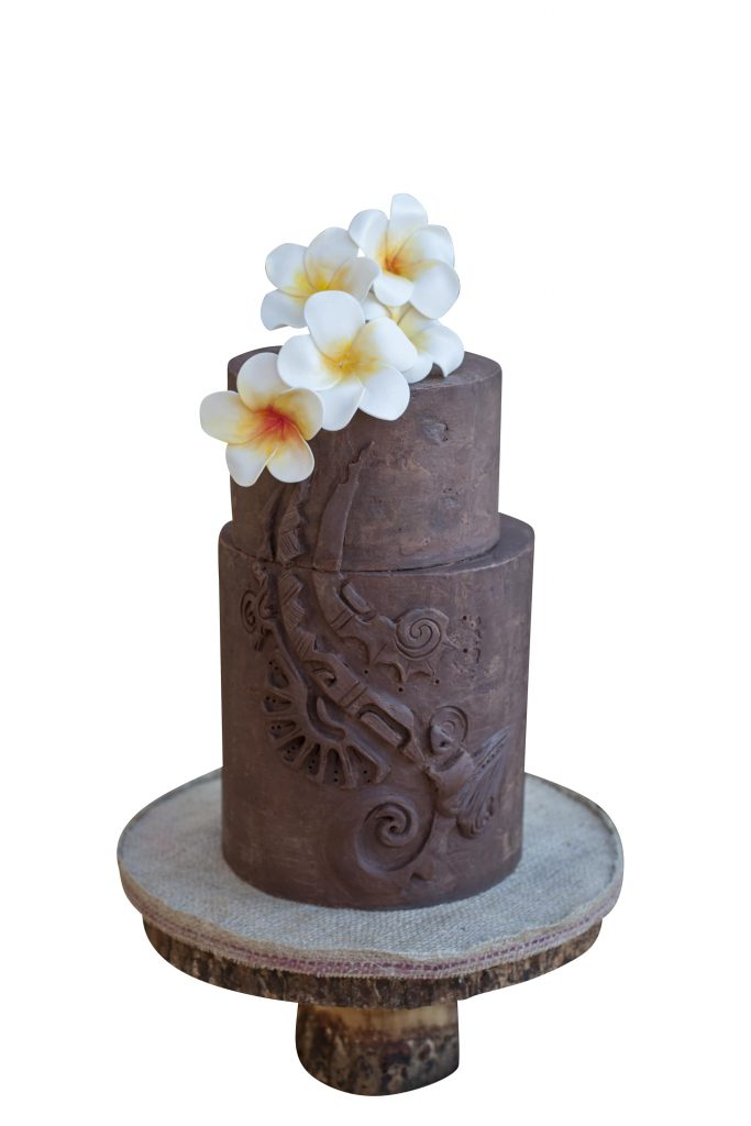 Hawaiian tribal pattern inspired cake template in Cake Masters Magazine.