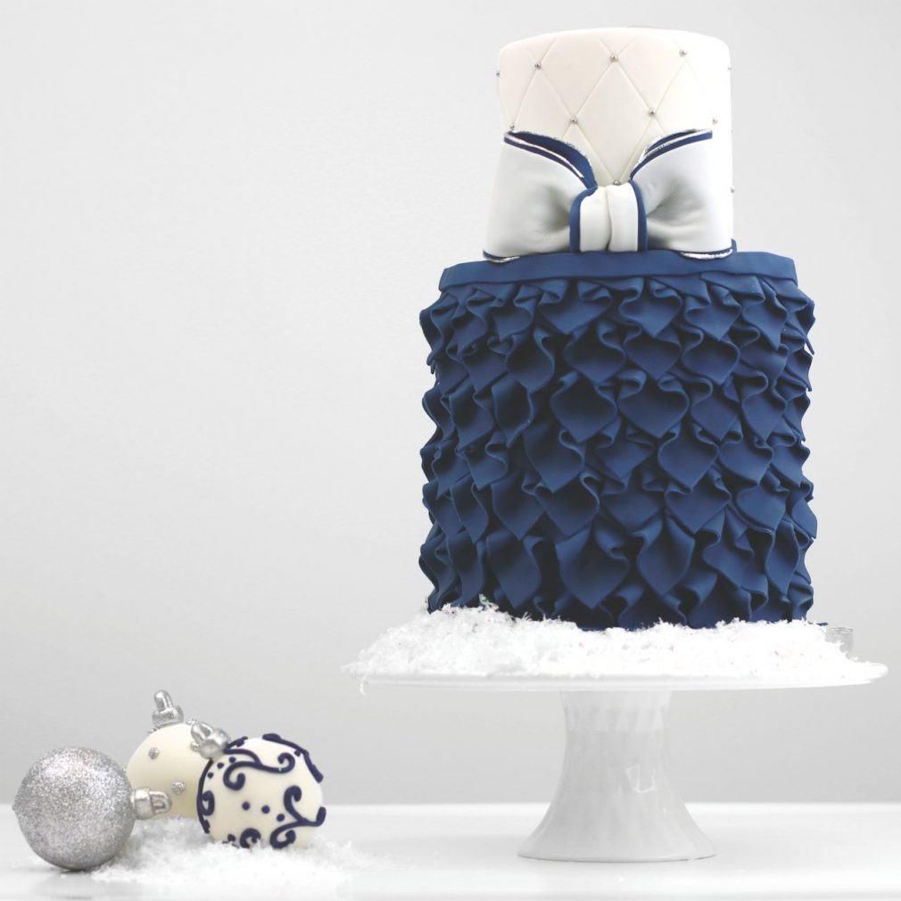 Cake Masters Magazine - Navy Frill and Bow Cake