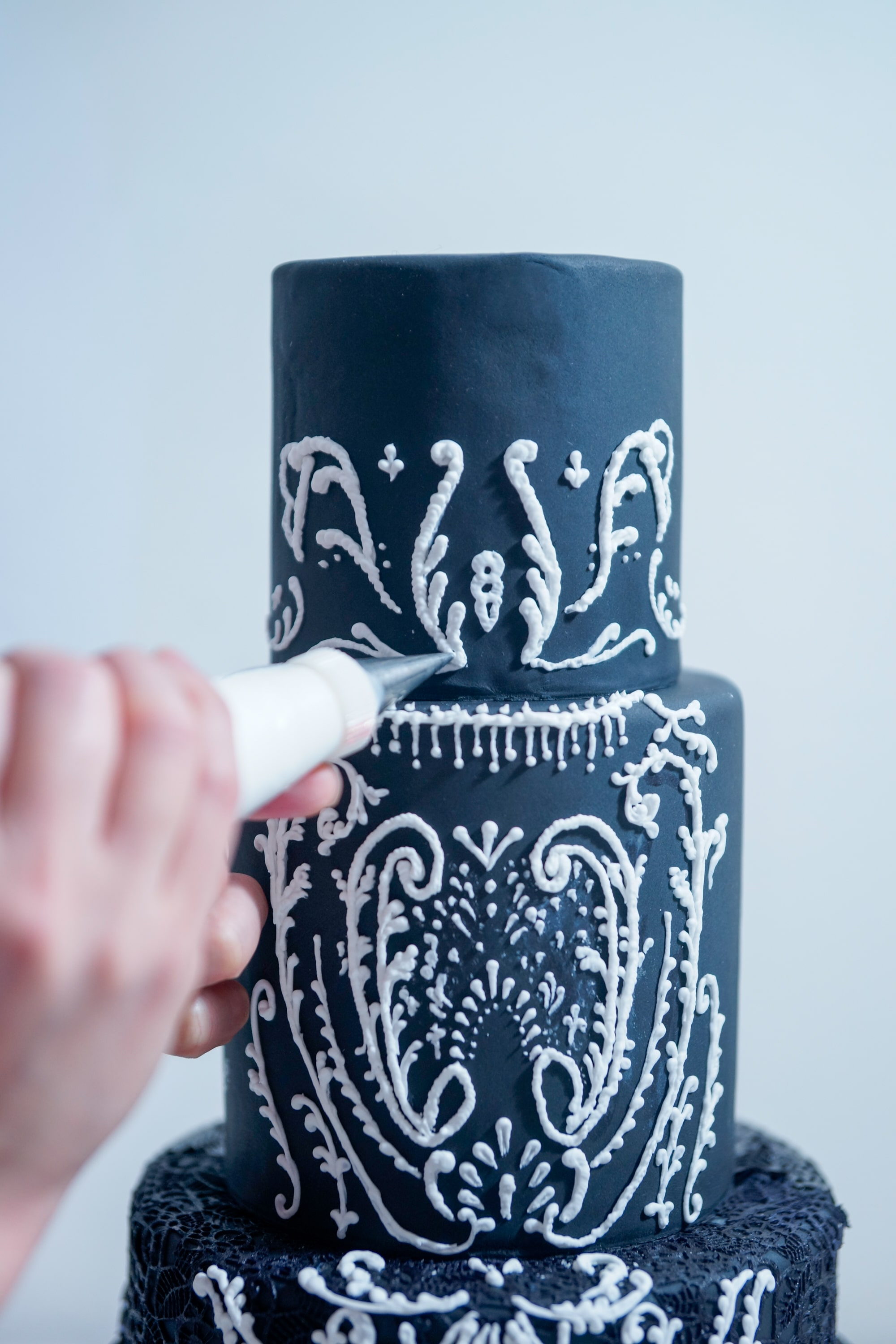 Black Lace Wedding Cake