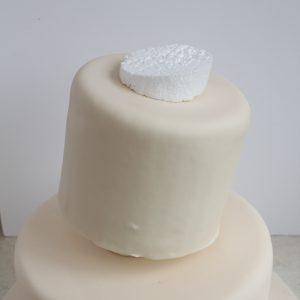 Vintage Fabric Flower Topsy-Turvy Wedding Cake