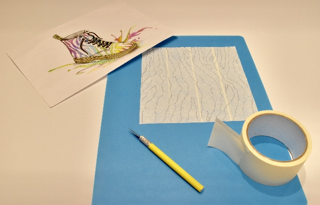Line up strips of masking tape the height and width of the boot onto a cutting mat. Draw out zebra print design and cut out the pattern using a scalpel knife.