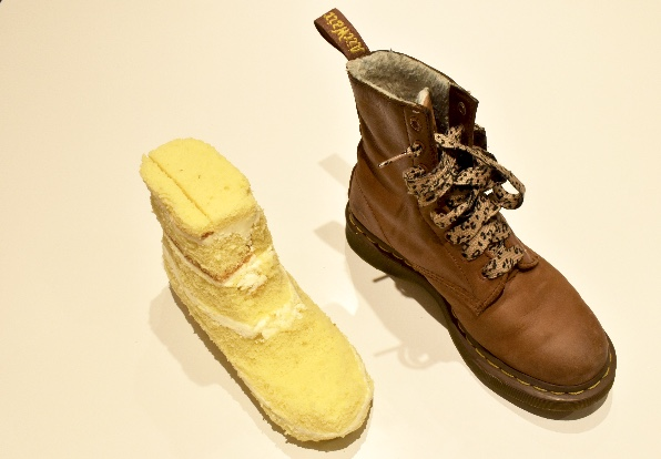 Use the actual boot as a guide when carving the cake.