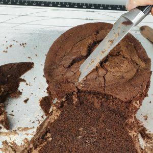 Carve cake into a fox shape